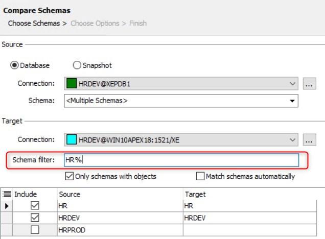 Figure 19: Compare Schemas – Schema filter