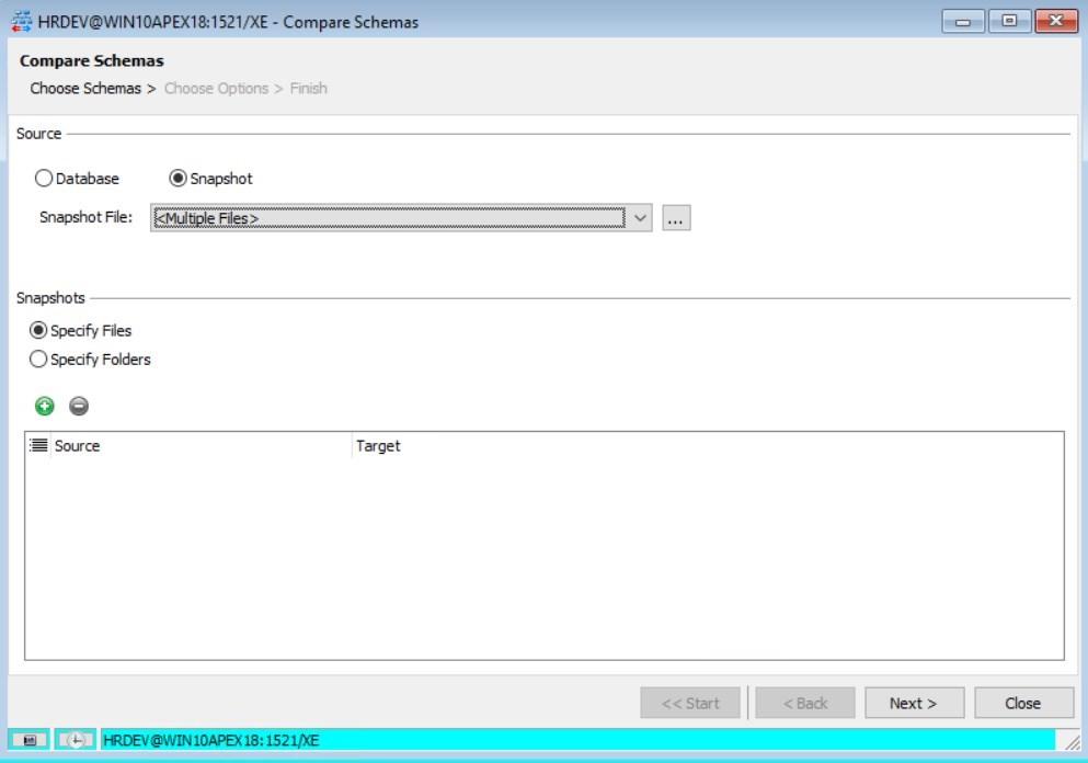 Figure 22: Compare Schemas – Snapshot – Multiple Files