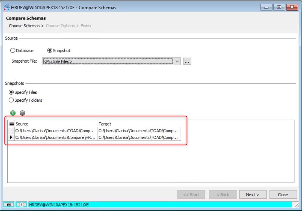 Figure 24: Compare Schemas - Specify Files View