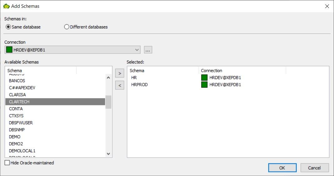 Figure 5: Choose Schemas – Same database