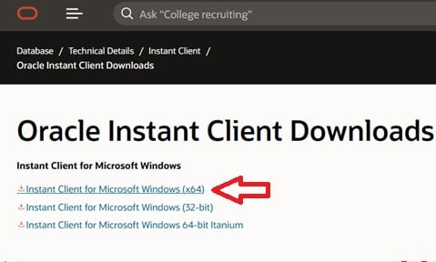 Oracle Instant Client Downloads: Download the instant client for Windows on Oracle.com.