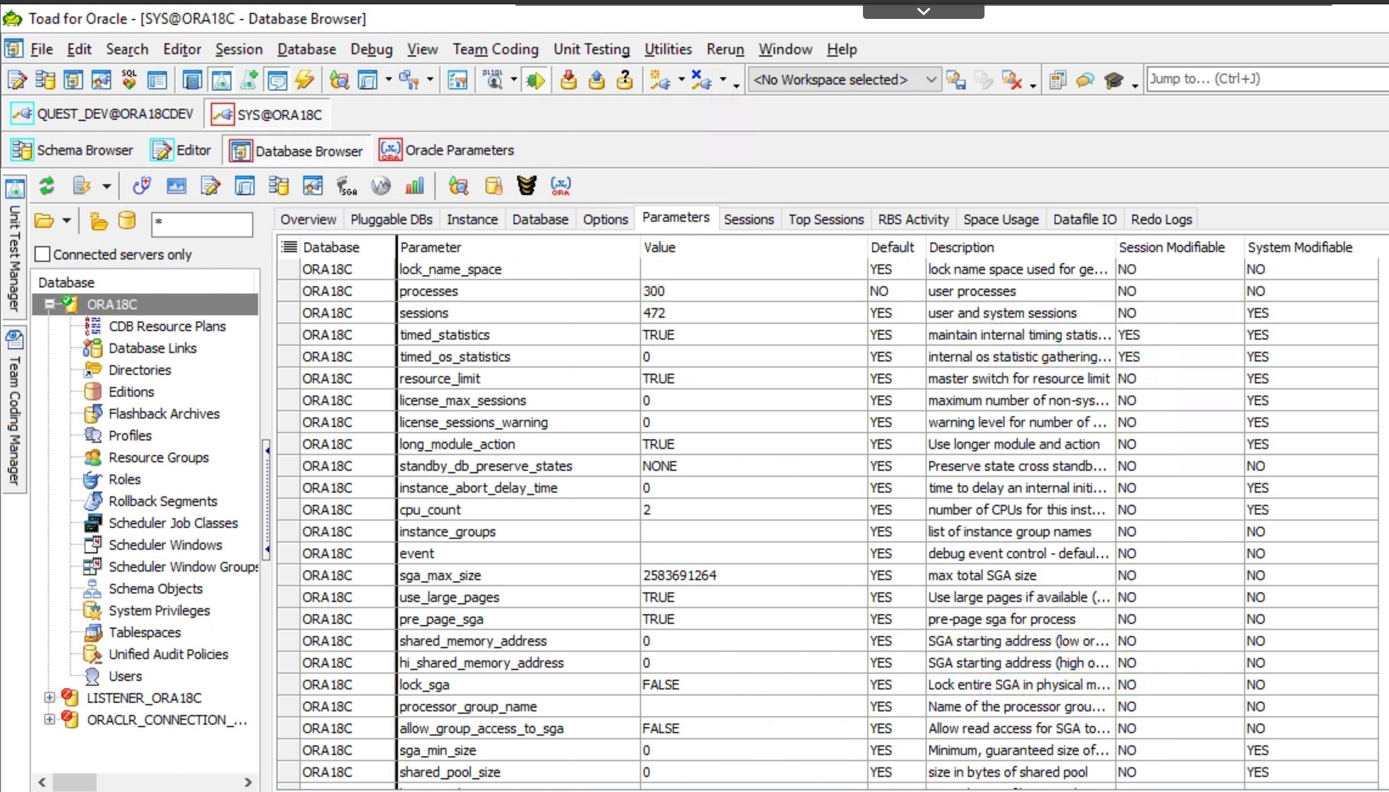 Basic Oracle parameters view.