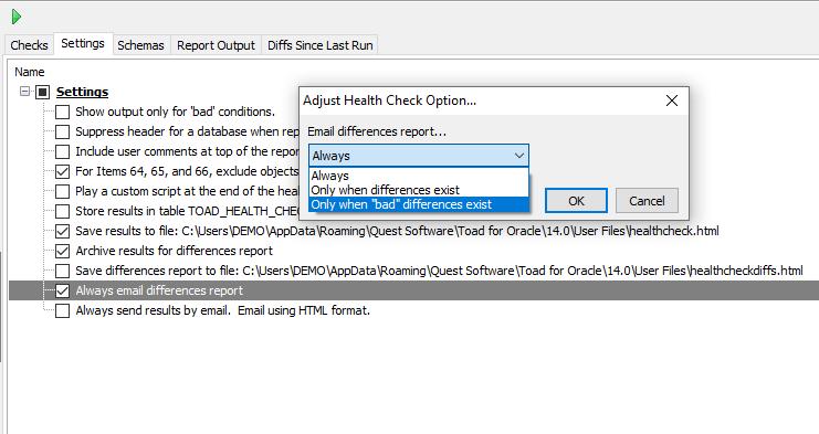 Database health check settings panel