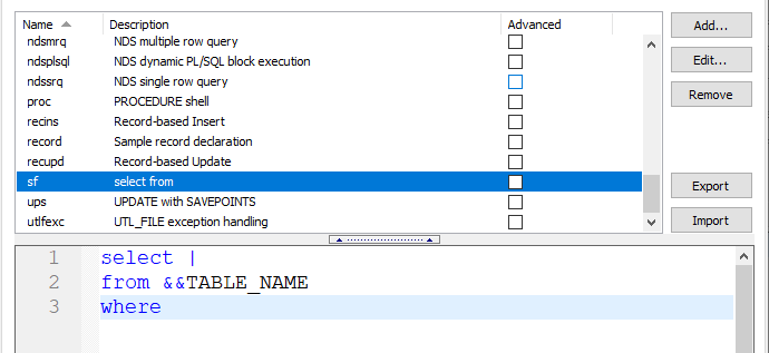 Another SQL Code Template Example