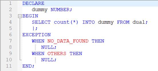 A PL/SQL Toad SQL Editor Color Coding Example.
