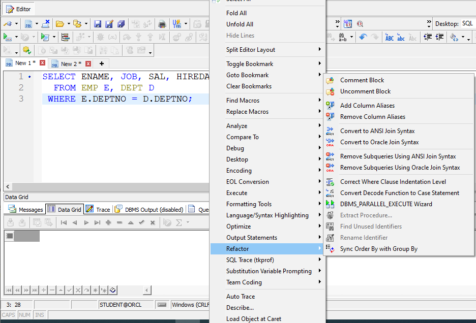 Right Click Assistance in Toad SQL Editor.