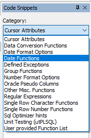 Toad Code Snippets Categories.