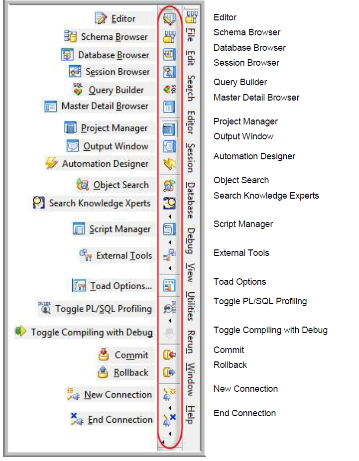 Toolbar Legends, Toad for Oracle 11 6