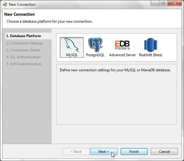 Figure 2. Selecting Database Platform as MySQL