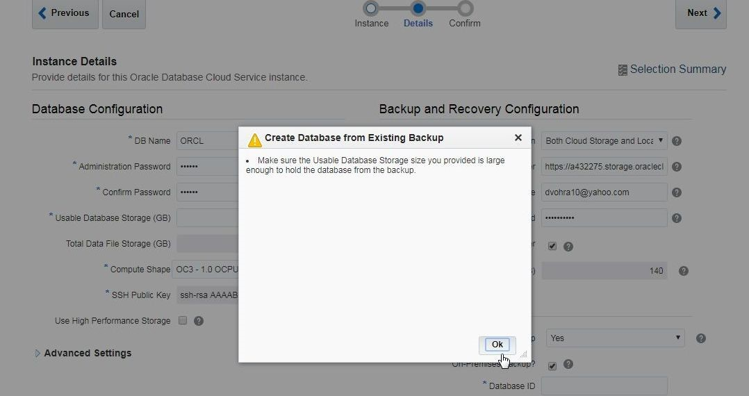 Figure 4. Create Database from Existing Backup Confirmation