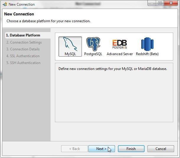 Figure 18. Selecting Database Platform as MySQL