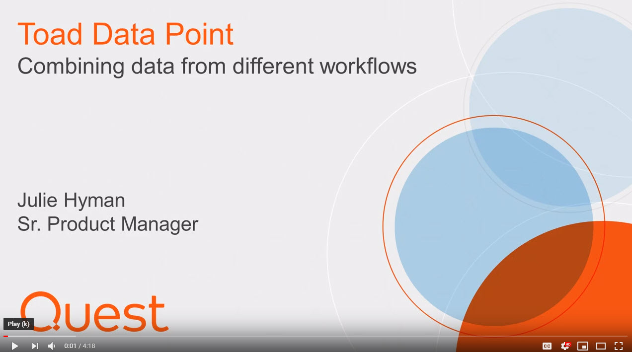 How to combine results sets in new workflows in Toad Data Point Workbook image