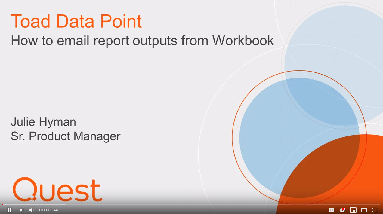 How to email Toad Data Point Workbook report - image