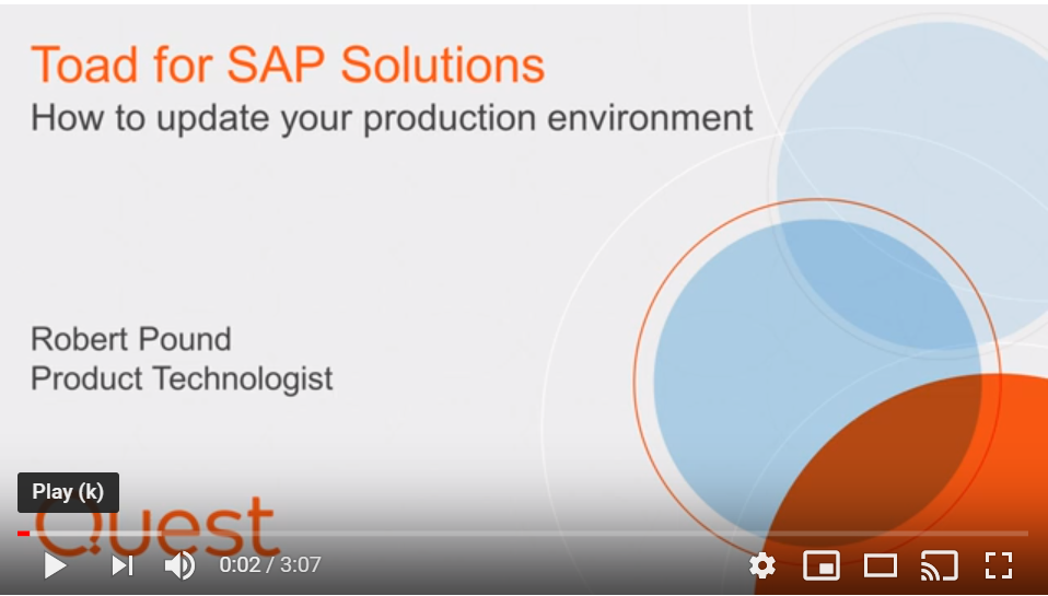 How to update your production environment - Toad for SAP