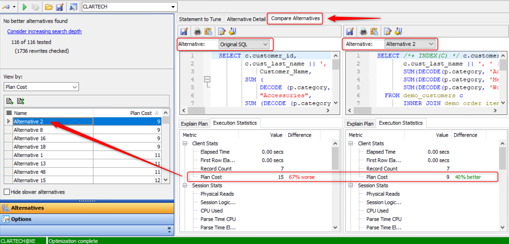 Comparison of SQL Queries Using Toad for Oracle