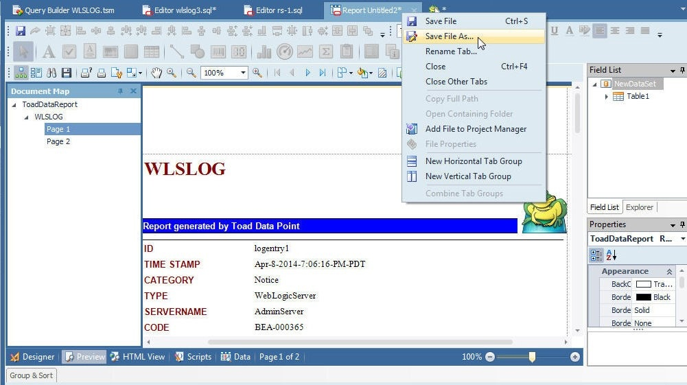 Creating Reports in Toad Data Point from Oracle Database on RDS