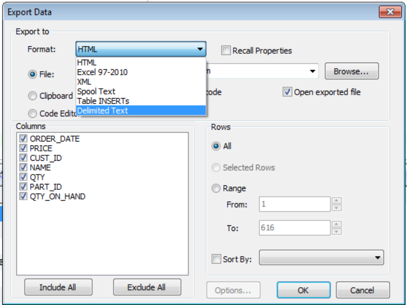 Exporting Data With SQL Navigator