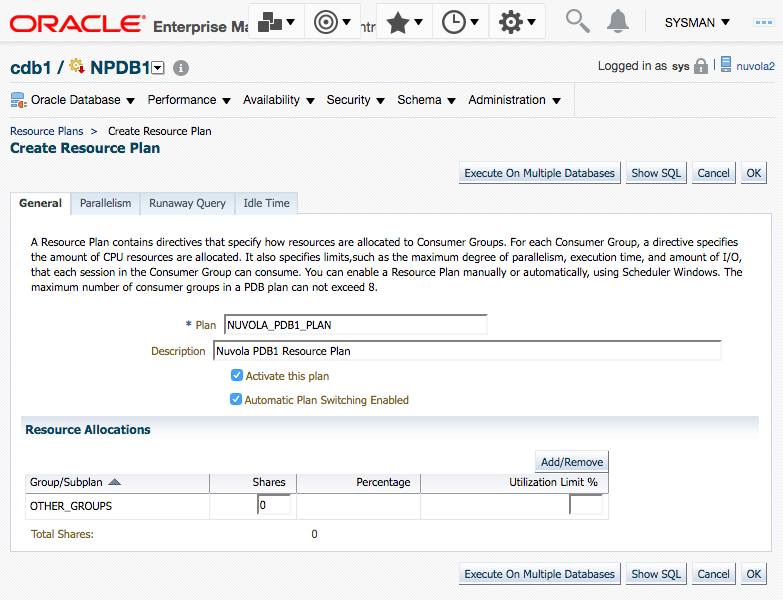 Oracle Database Resource Manager for pluggable databases