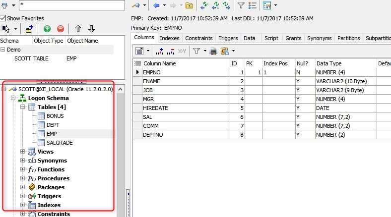 Getting to Know the Toad for Oracle Schema Browser