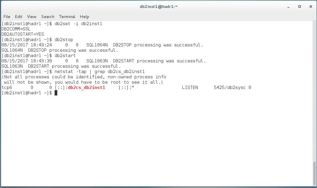 Configure IBM Db2 LUW v11 1 for SSL connections (self-signed