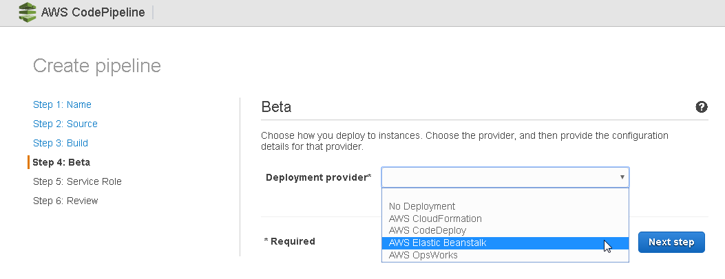 Developing an AWS CodePipeline with No Build