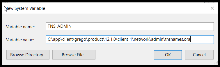 Enter the Variable Name as TNS_ADMIN.  Enter the path to the tnsnames.ora file as   C:appclientgregoproduct.1.0client_1networkadmintnsnames.ora.  Click OK.