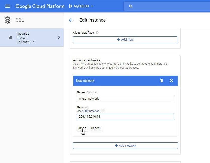 Using CloudSQL on Google Cloud Platform with Toad Edge
