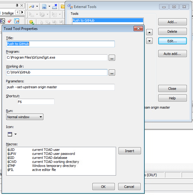 Binding Toad Automation and External Tools to your Custom