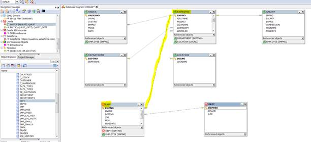 How to use the cross connection features in heterogeneous database my questopti schema into the database diagram at least i define manually a relationship between the db2 luw employee table and the oracle emp table ccuart Image collections