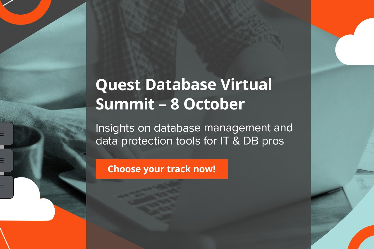 During Quest Database Summit 2020 Virtual Conference, you'll get a full day of learning. We'll also be discussing the latest developments with Toad®, such as product updates and the future of Toad for Oracle along with great reasons to update to the latest version.