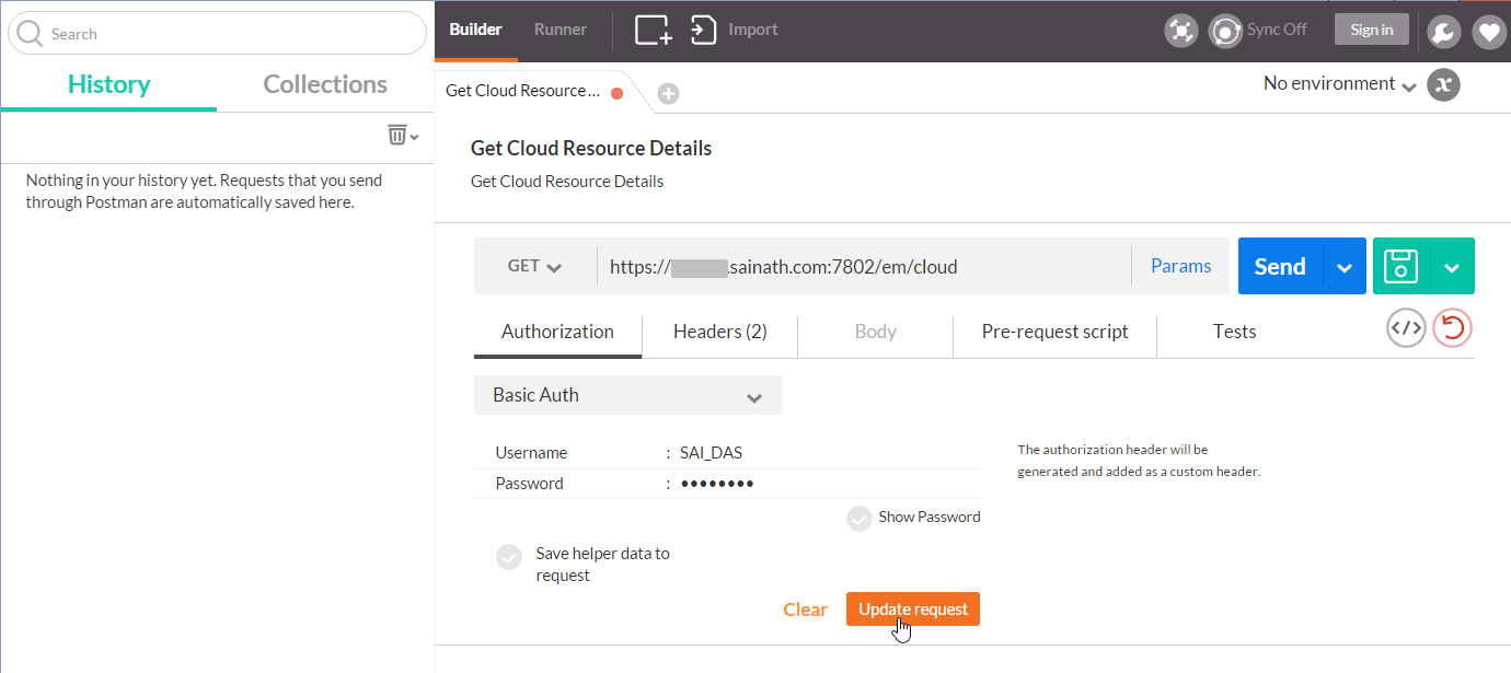 Figure 40. Basic Authentication details - Get Cloud Resource Details request