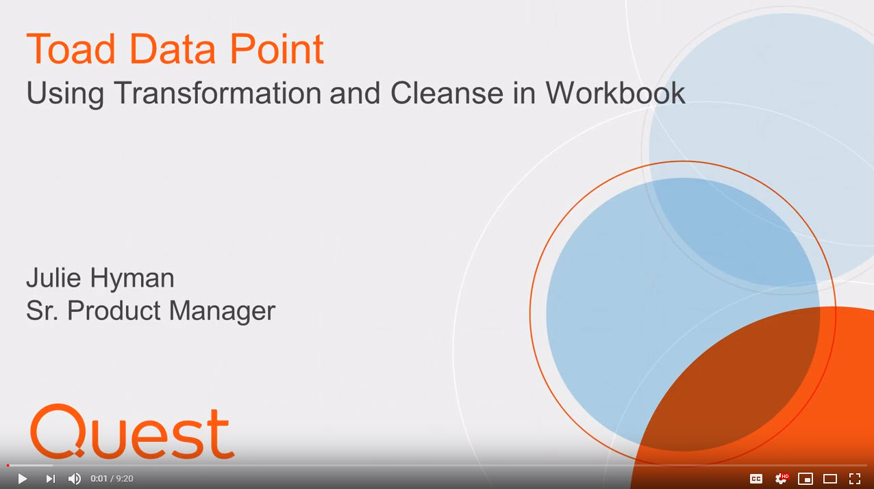 Using Transfrom and Cleanse within Toad Data Point Workbook