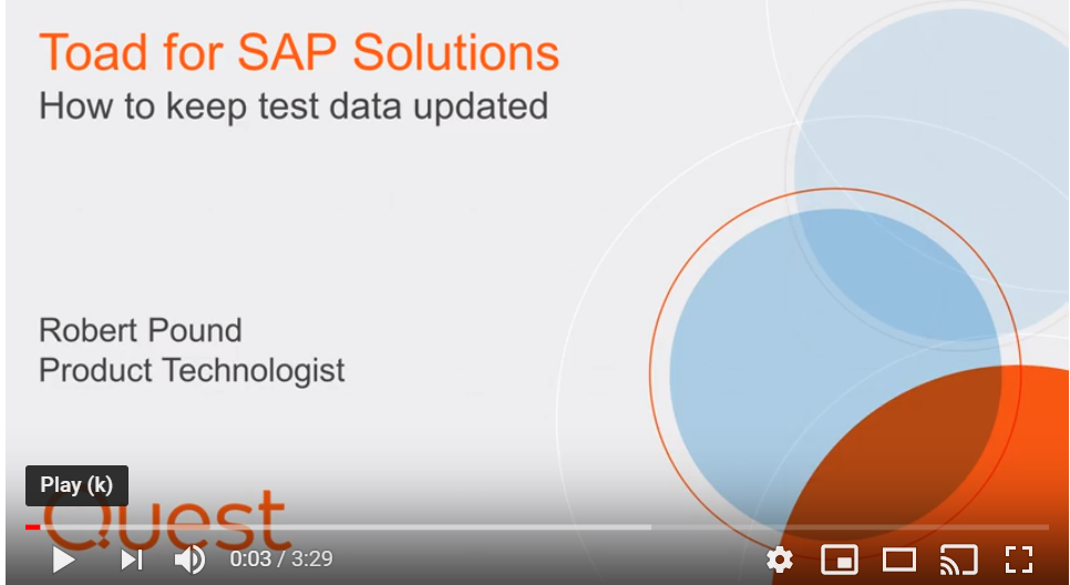 how to keep test data updated Toad for SAP